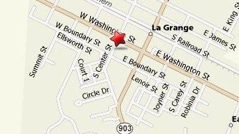 A photo of a map showing the location of the La Grange Town Hall.