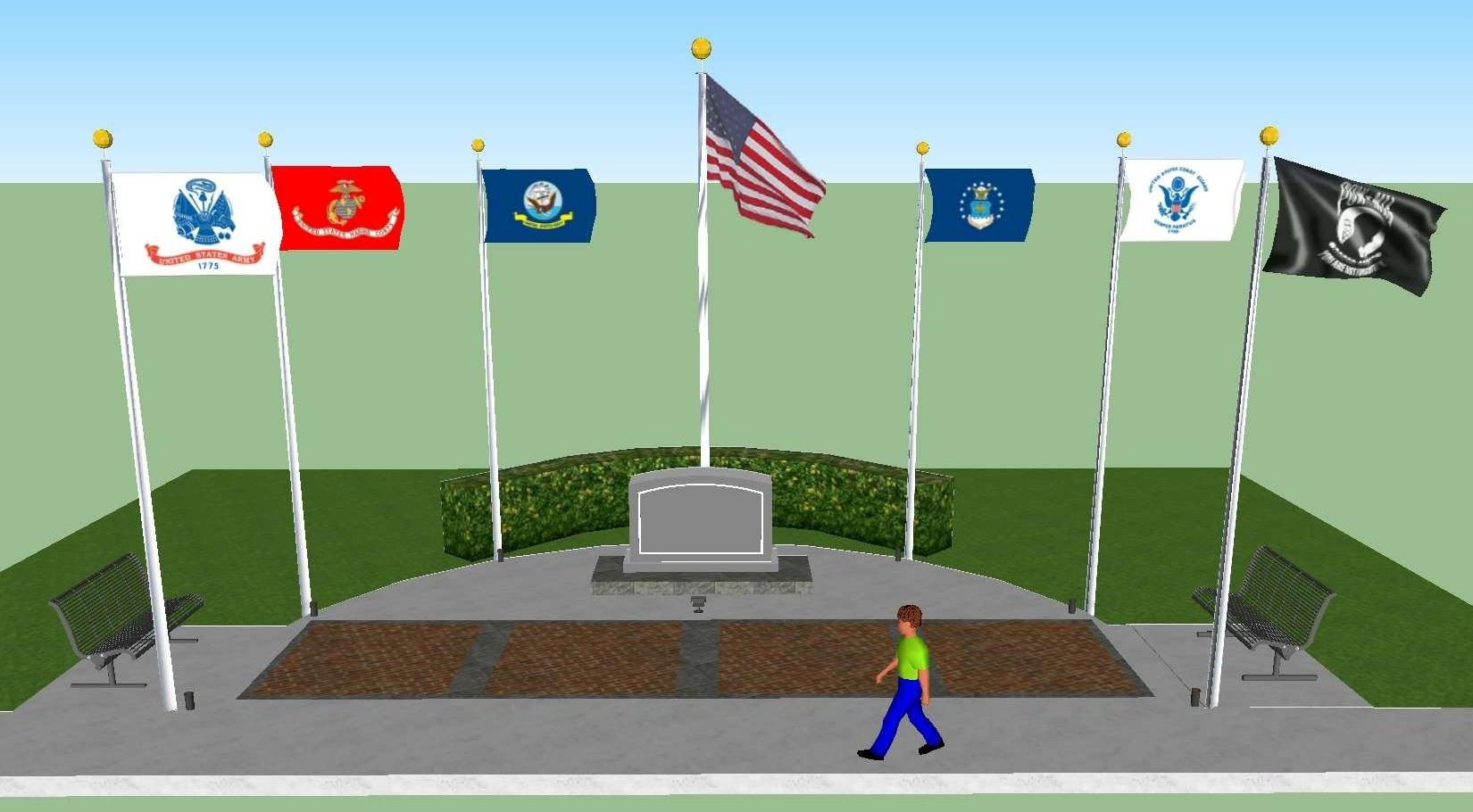 A 3D rendering of the future Veterans Memorial, featuring flags and commemorative stone and brick pa